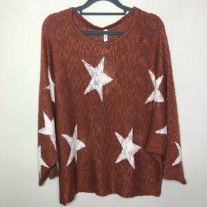 Wishlist Rust and Ivory Stars Sweater M/L